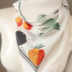 Vintage Echo Strawberries Scarf White Fruit Plum